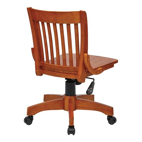 deluxe armless wood bankers chair with wood seat fruit wood finish