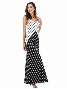 Women's Maxi Dress U Neck Sleeveless V Shape Striped Two ...