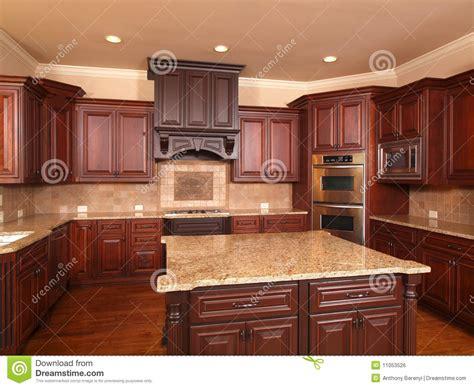 Luxury Home Kitchen Front Center Island Stock Photo