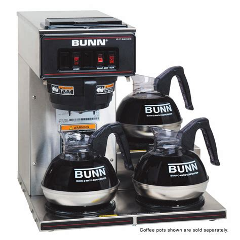 Bunn VP17 3 Pourover Coffee Brewer   Low Profile   Stainless Decor