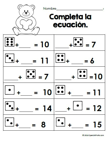 Free Bilingual February Math Worksheets First Grade