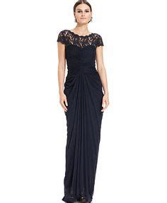 Adrianna Papell Beaded Boat Neck Cap Sleeve Gown by Lauren Ralph Lauren Cap Sleeve Beaded Boat Neck Gown