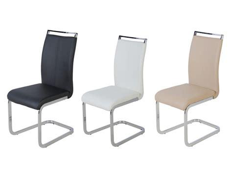 lot de 4 chaises en simili noir blanc ou beige