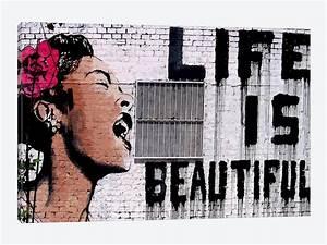 Life Is Beautiful Canvas Artwork by Banksy | iCanvas