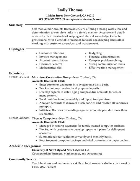 Accounts Receivable Clerk Resume Examples  Free To Try. Group Leader Resume. Design Skills For Resume. Stay At Home Mom On Resume. Edit Resume. Basic Resume Templates. Sample Resume For Technical Lead. Sample Resume For Jewelry Sales Associate. Business Analyst Resume Template