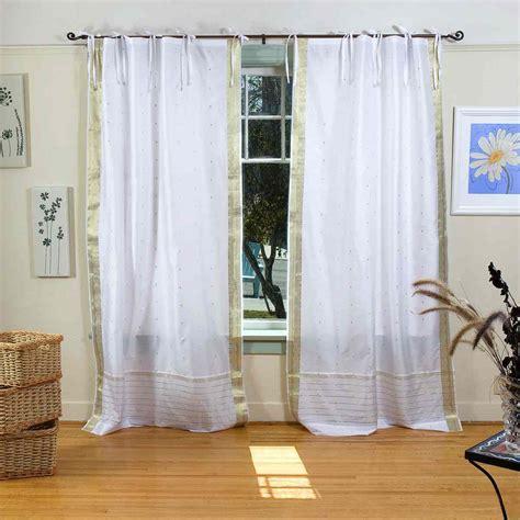 white with gold tie top sheer sari curtain drape panel