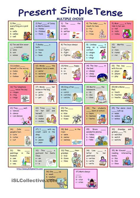 Present Simple Tense * Multiple Choice Exercise * With Key  Present Simple  Pinterest Engelska