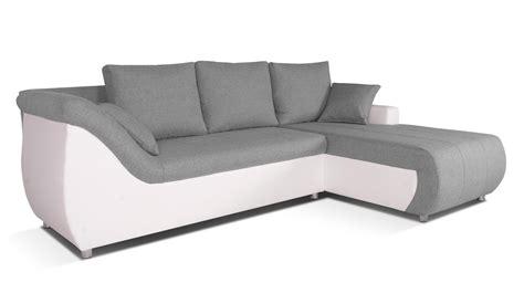corabia canap 233 d angle convertible droit design gris clair et blanc les docks du meuble