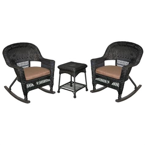 jeco 3pc wicker rocker chair set in black with brown