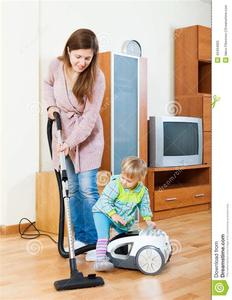 Mother With Child Cleaning Home Stock Photo  Image 42494825