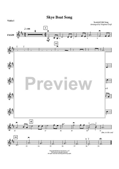 Skye Boat Song For Violin by Skye Boat Song Violin 1 Sheet Music For Piano And More