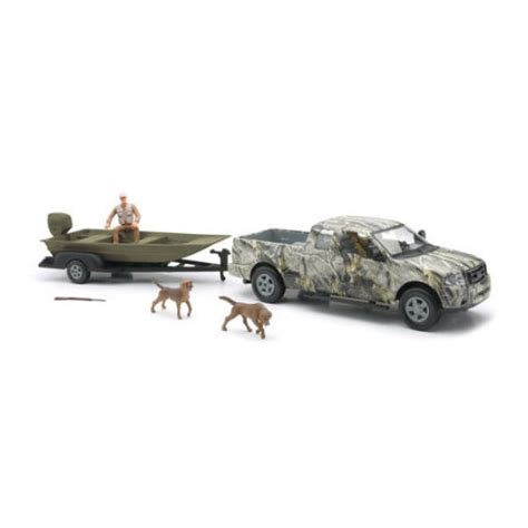 Toy Fishing Boat And Trailer by New Ray Toys Company Wild Hunting Camo Pickup With Boat