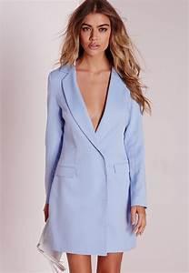 Missguided Long Sleeve Blazer Dress Blue in Blue | Lyst
