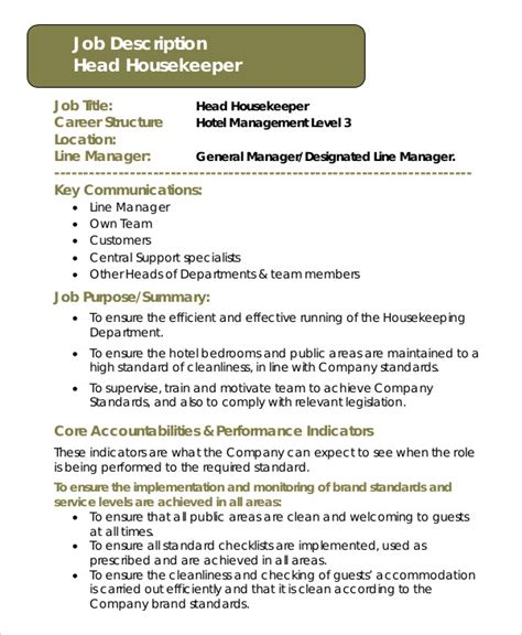 Resume For Hospital Housekeeping Position