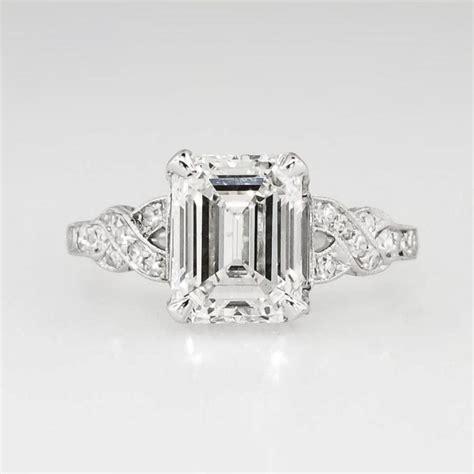 sensational certified 1930 s deco 2 90ct t w emerald cut filigree engagement