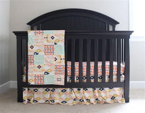 baby aztec bedding set mint coral navy blue
