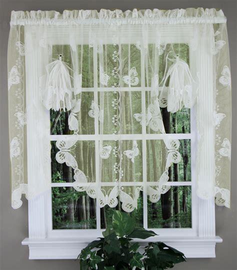 butterfly lace fan swag ivory sku country kitchen curtains