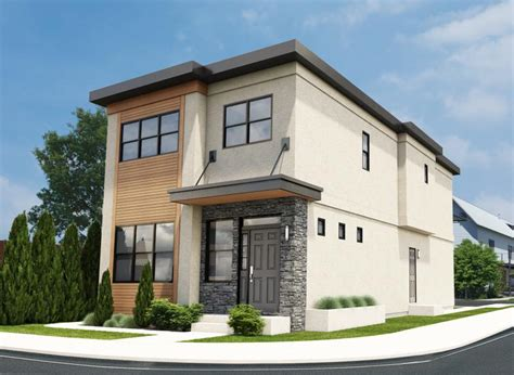 Narrow Lot Contemporary Duplex  House Plan Hunters