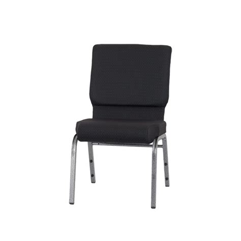 hercules series 18 5 w stacking church chair in black patterned fabric silver vein frame fd