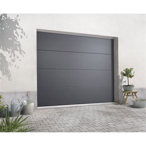 porte de garage sectionelle excellence acier gris rainur 233 e 200 x 240cm leroy merlin