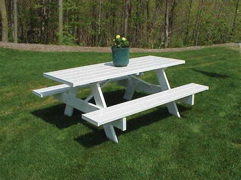 Duratrel Traditional White Plastic Picnic Table Bench