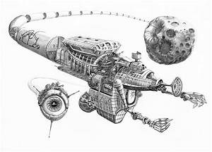 Asteroid Mining Ship Drawing by Murphy Elliott