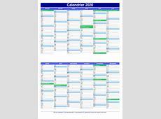 Calendrier 2020 2019 2018 Calendar Printable with