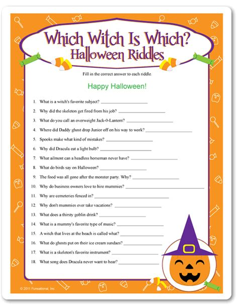 Halloween Fun Riddles by Printable Which Witch Is Which Halloween Riddles