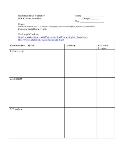 Plate Boundaries Worksheet