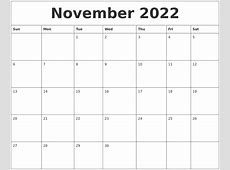 November 2022 Calendar Pages