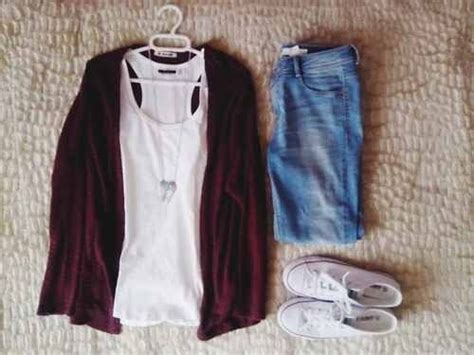 Casual Outfit-white Tank, Burgundy Cardigan, Blue Denim, Sneakers