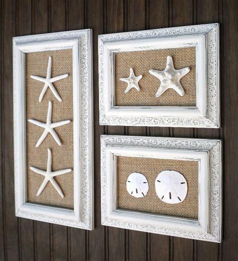 trio of coastal wall decor cottage chic framed starfish wall