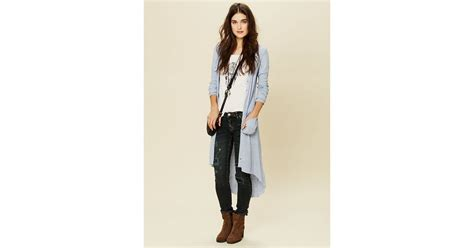 Free People Ribbed Up Maxi Cardigan In Blue