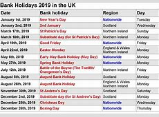 Free Bank Holidays 2019 Calendar with USA, UK, UAE