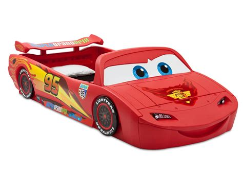 delta children cars lightning mcqueen toddler to bed with lights and box