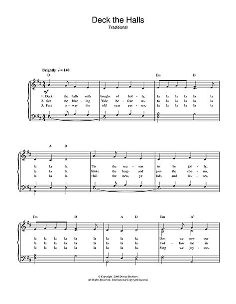 deck the halls sheet by carol piano vocal guitar right melody 32154