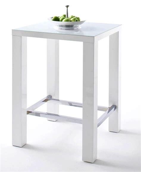 table de bar joyce blanc laqu 233 et verre avec repose pieds 80x80 cm