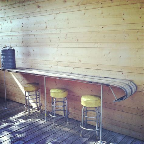 repurposed 10ft wooden snow sled into deck bar 60 diy
