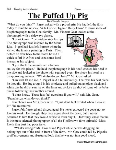 Reading Comprehension Worksheet  The Puffed Up Pig