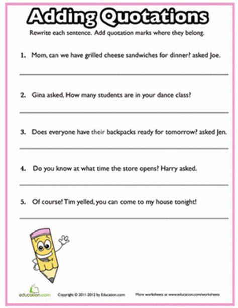 Quotation Marks Quiz #2  Worksheet Educationcom