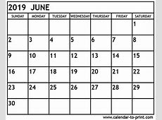 June 2019 Printable Calendar 2018 calendar with holidays