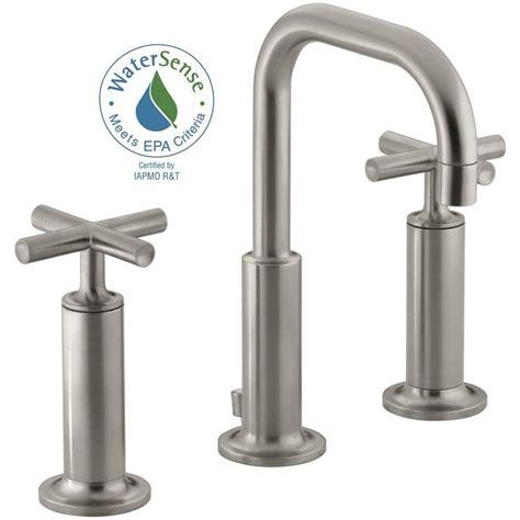 kohler purist 8 in widespread 2 handle bathroom faucet in vibrant brushed nickel k 14407 3 bn