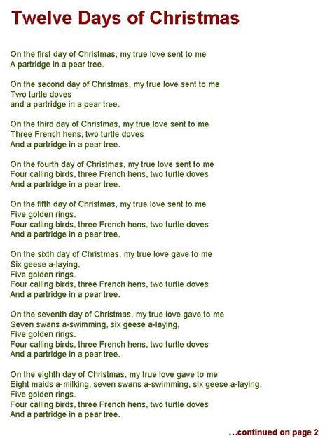 Words To The 12 Days Of Christmas Madinbelgrade