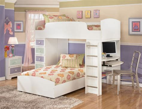 The Furniture / White Kids Bedroom Set With Loft Bed In