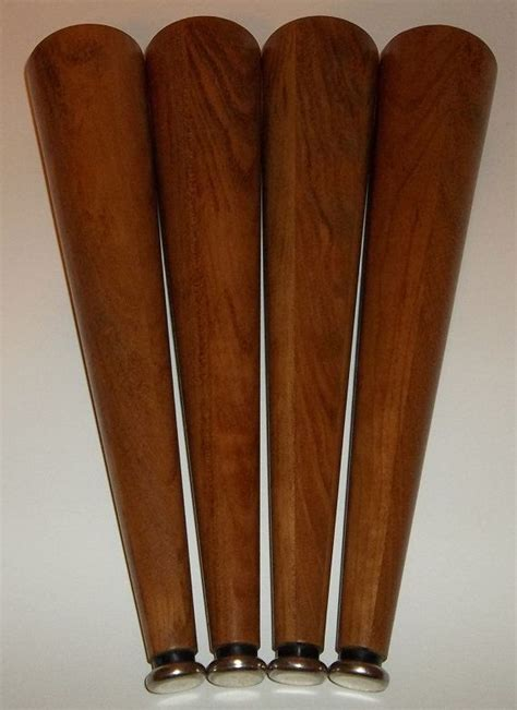 solid genuine teak mid century style replacement sofa legs fits ikea karlstad and other styles