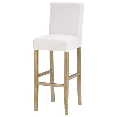 chaise de bar en tissu et bois massif blanche boston maisons du monde