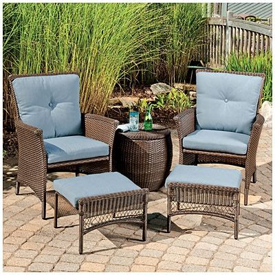 wilson fisher 174 chelsea resin wicker 5 seating set with cushions at big lots