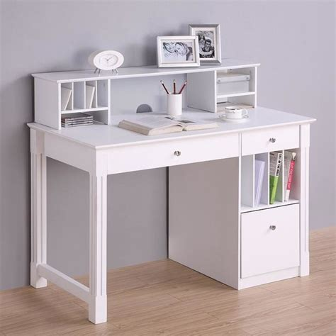Deluxe White Wood Computer Desk with Hutch   Modern   Desks And Hutches   by Overstock.com