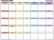 February 2018 Calendar Template monthly printable calendar
