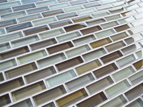 Beige Brown Warm Cool Glass Subway Mosaic Tile  Kitchen